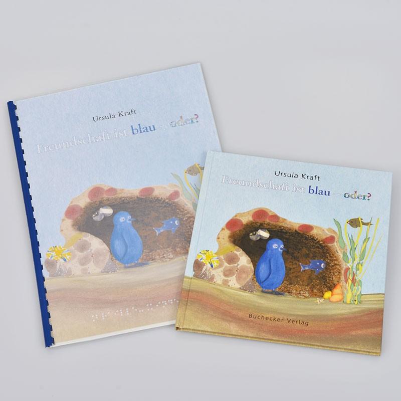 Ein Bild von dem Braillebuch + Bilderbuch Freundschaft ist blau - oder?