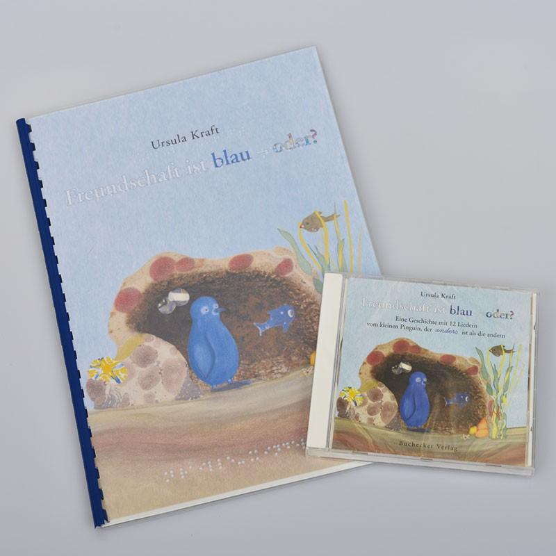 Ein Bild von dem Braillebuch + Hörbuch Freundschaft ist blau - oder?