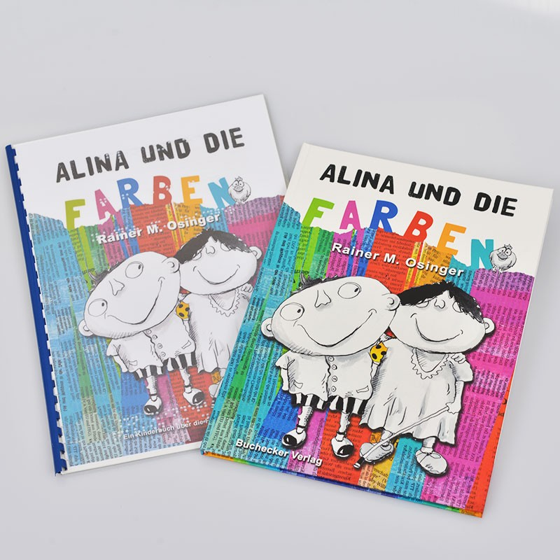 Ein Bild von dem Braillebuch und Bilderbuch Alina und die Farben
