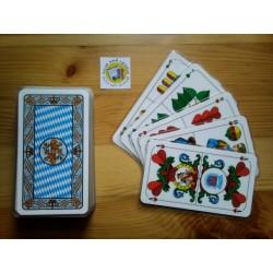 Ein Bild von dem Kartenspiel  Tarok / Scharfskopf  mit bayrischem Blatt