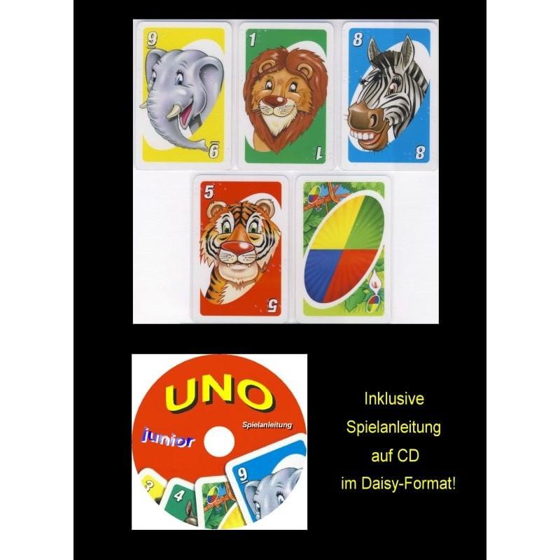 Ein Bild von dem Kartenspiel UNO Junior mit Brailleschrift